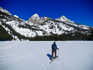 Katie Skinning Across Bradley Lake
